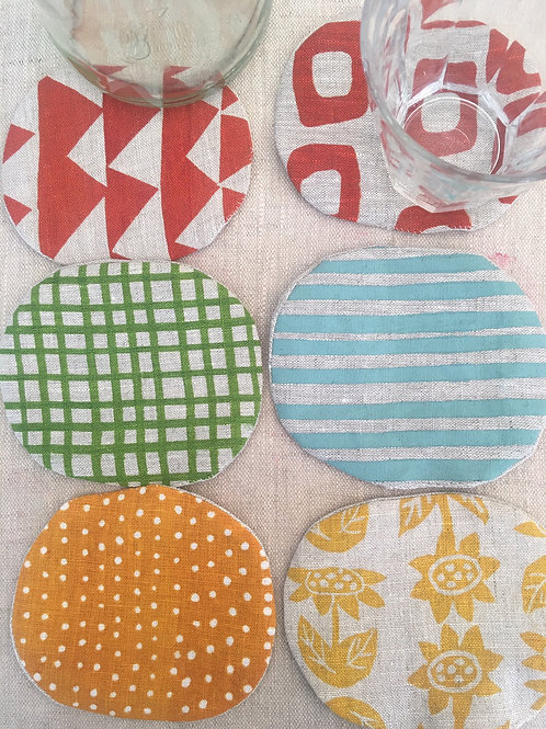 Bright Cheery Linen Coaster Set