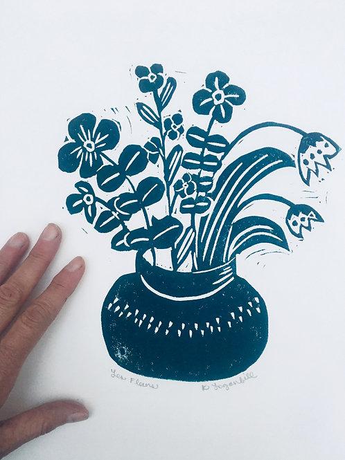 Les Fleurs- Blockprint original Art