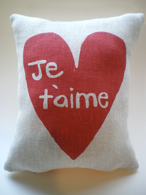 Je t'aime Pillow with Pocket