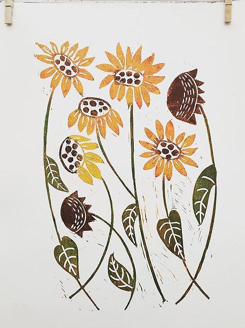 Sunflowers original block print