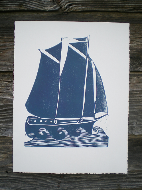 Sailing Ship Block Printed Poster