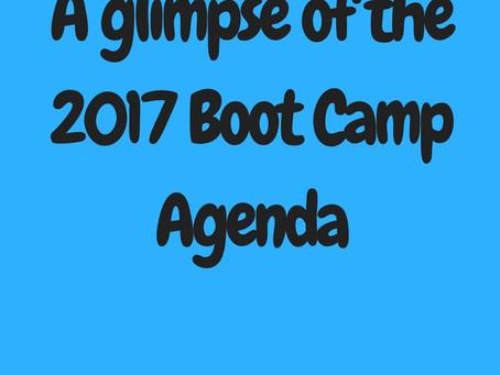 A glimpse of the 2017 Boot Camp Agenda