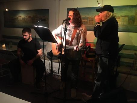 Gary jamming at Avli Bar with Stelios & Dino!