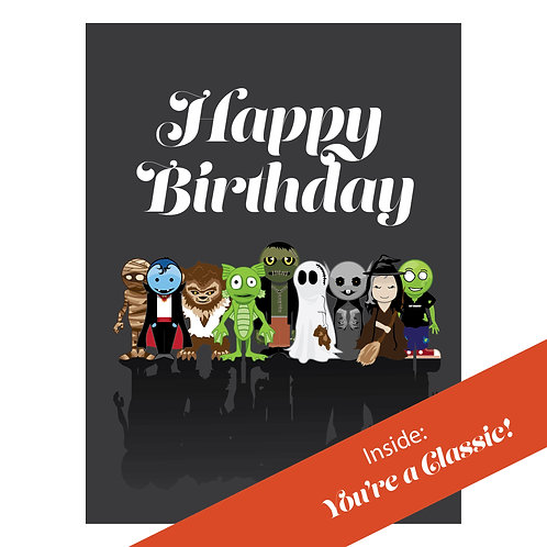 Happy Birthday Classic Monster Card | a Downloadable Greeting Card by Monstorium