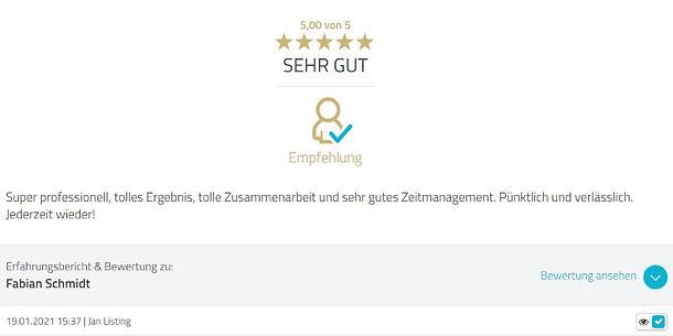 Bewertung Fabian Schmidt Media Jan Listi