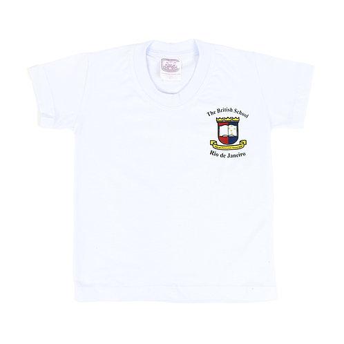 British School Camisa Manga Malha Branca