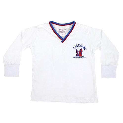 Butterfly Camisa Manga Comprida Malha Branca