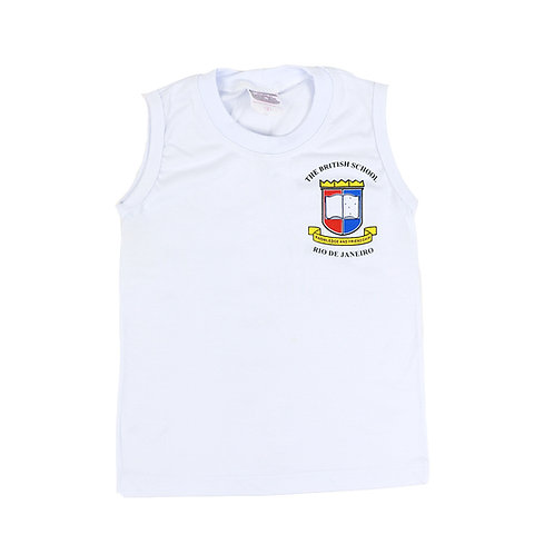 British School Camisa Sem Manga Malha Branca