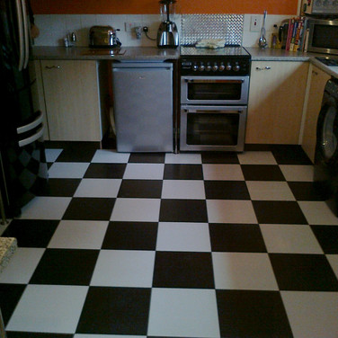 Checkered floor tiling