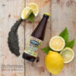 Zooka lemon flavoured kombucha tea flat lay image