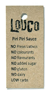 Louco piri piri sauce bottle tag side 1