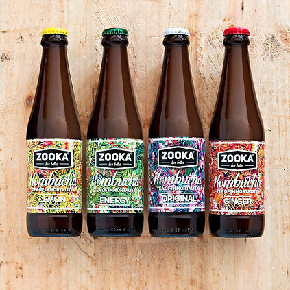 Zooka all 4 flavours of kombucha tea flat lay image