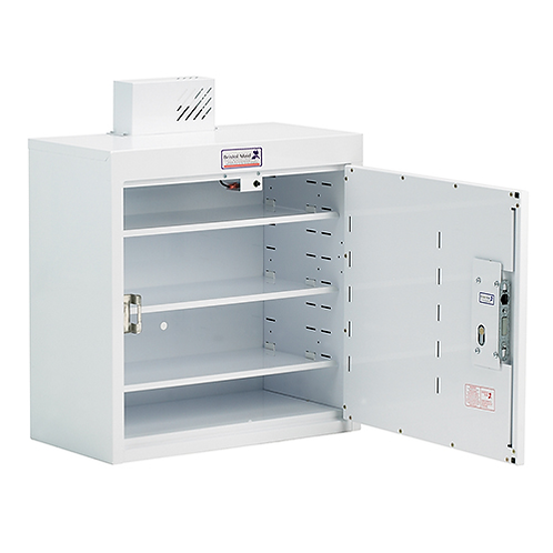 Medisinskap PC m/enkel dør og dype hyller, låsbart