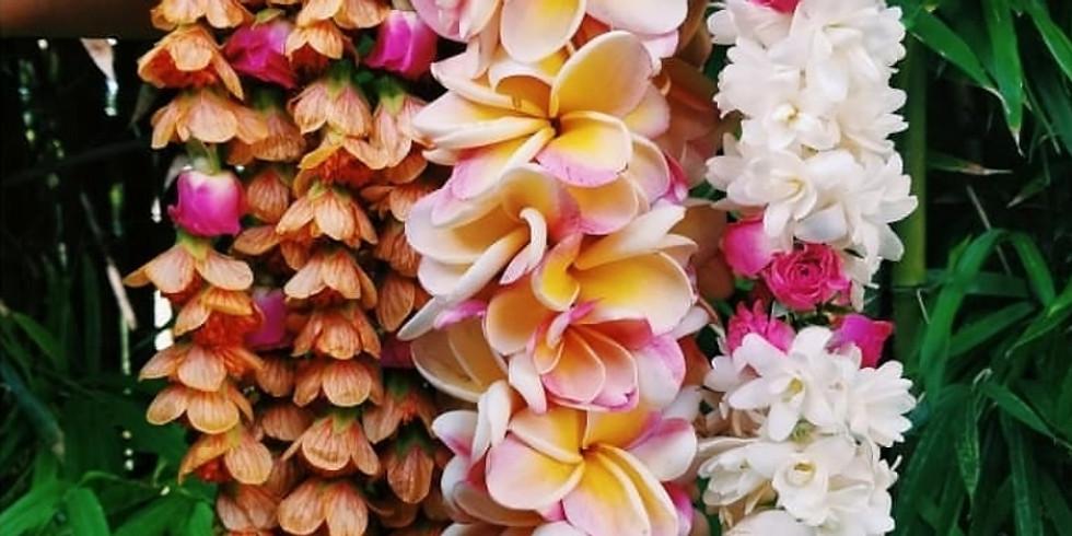 Kui Poepoe Workshop at Haku Maui - Double Plumeria Lei