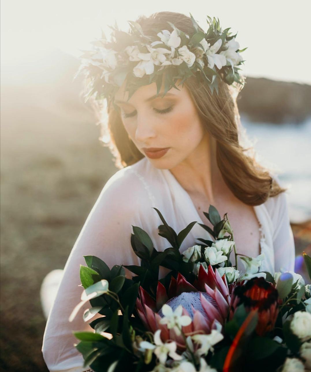 Bridal Haku Lei and Bouquet