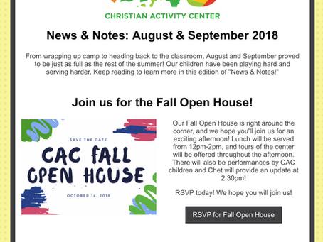 August/September News & Notes