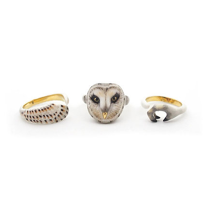 3-Piece Owl Rings, Grey