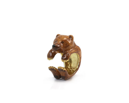 Bear Hug Ring ,Brown