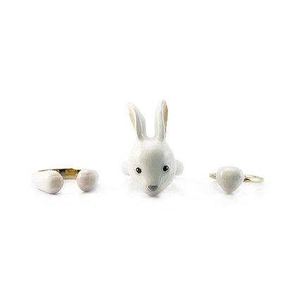 3-Piece Rabbit Rings ,white