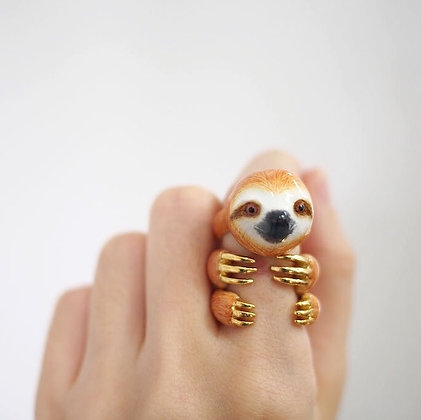 3-Piece Sloth Rings,Brown
