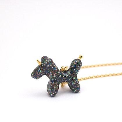 Balloon Unicorn Necklace ,Black Glitter
