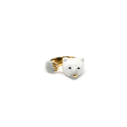 Polar Bear Hugging Finger Ring