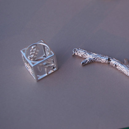 Geometric Flower Ring,Silver