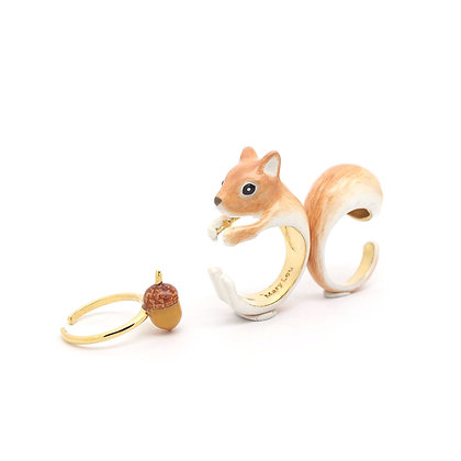 3-Piece Squirrel Rings, brown