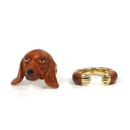 2-Piece Basset Hound Rings, Brown