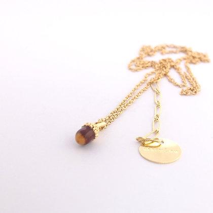 Little Acorn Necklace, Brown