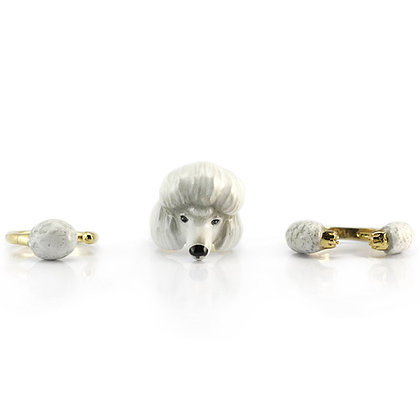 3-Piece Poodle Dog Rings,White