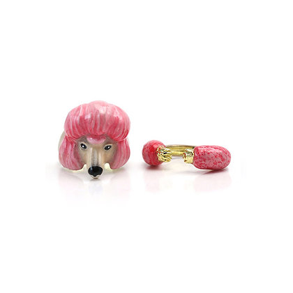 2-Piece Poodle Dog Rings, Pink