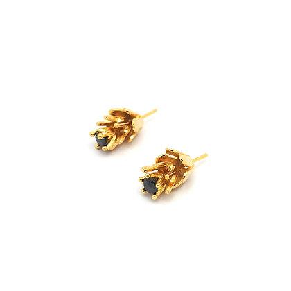 3flowers Earring, Gold, Black Gems