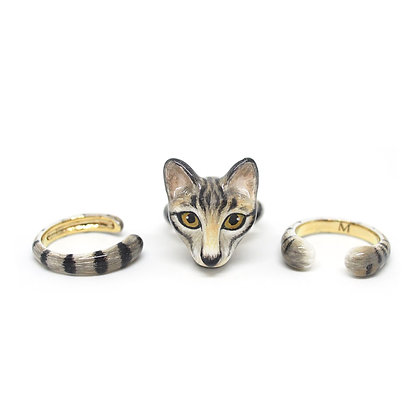 3-Piece Asian Cat Rings