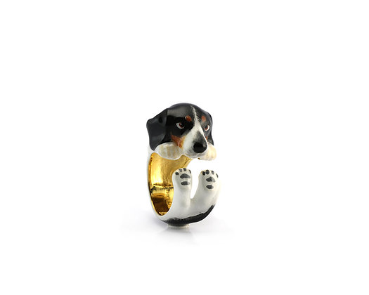 Beagle Hug Ring ,Black and white