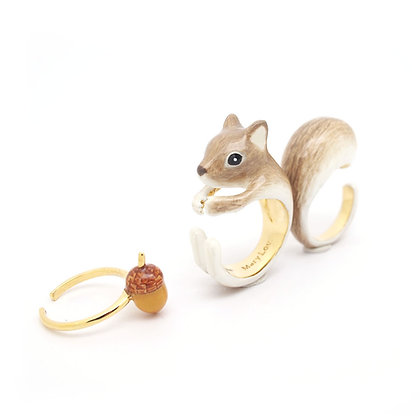 3-Piece Squirrel Rings, Grey