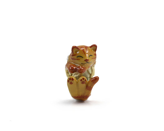 Cat with pearl Hug Ring ,Yellow