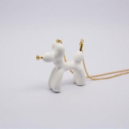 Balloon Dog Necklace White