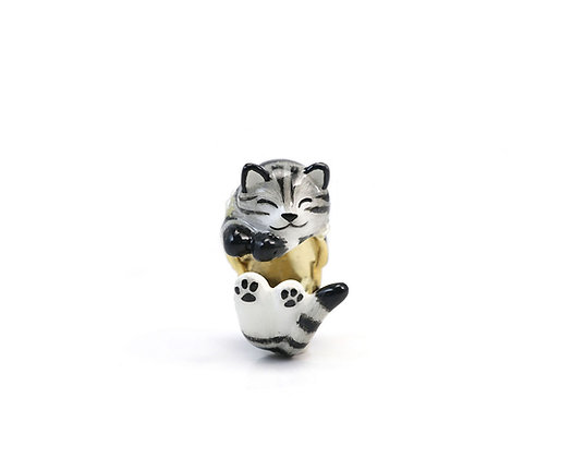 Cat with pearl Hug Ring ,grey
