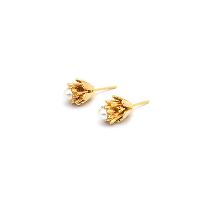 3flowers Earring,Gold,Pearl