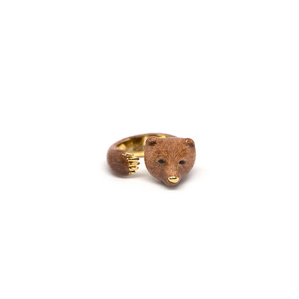 Grizzly Bear Hugging Finger Ring