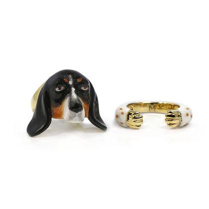 2-Piece Basset Hound Rings, Black