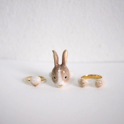 3-Piece Rabbit Rings, brown