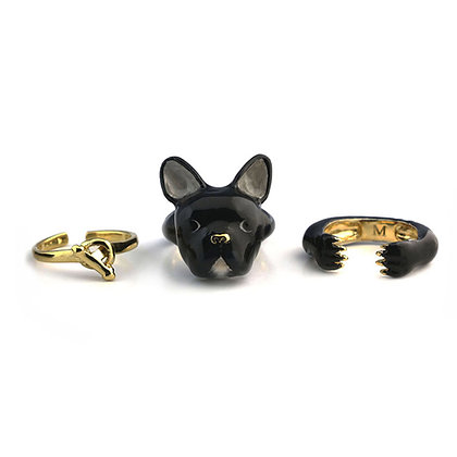 3-Piece French Bull Dog Rings