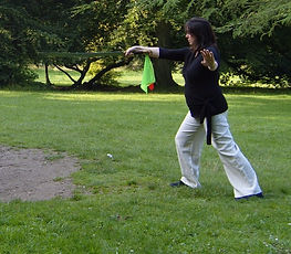 pregnant Cher Robins practising tai chi sword