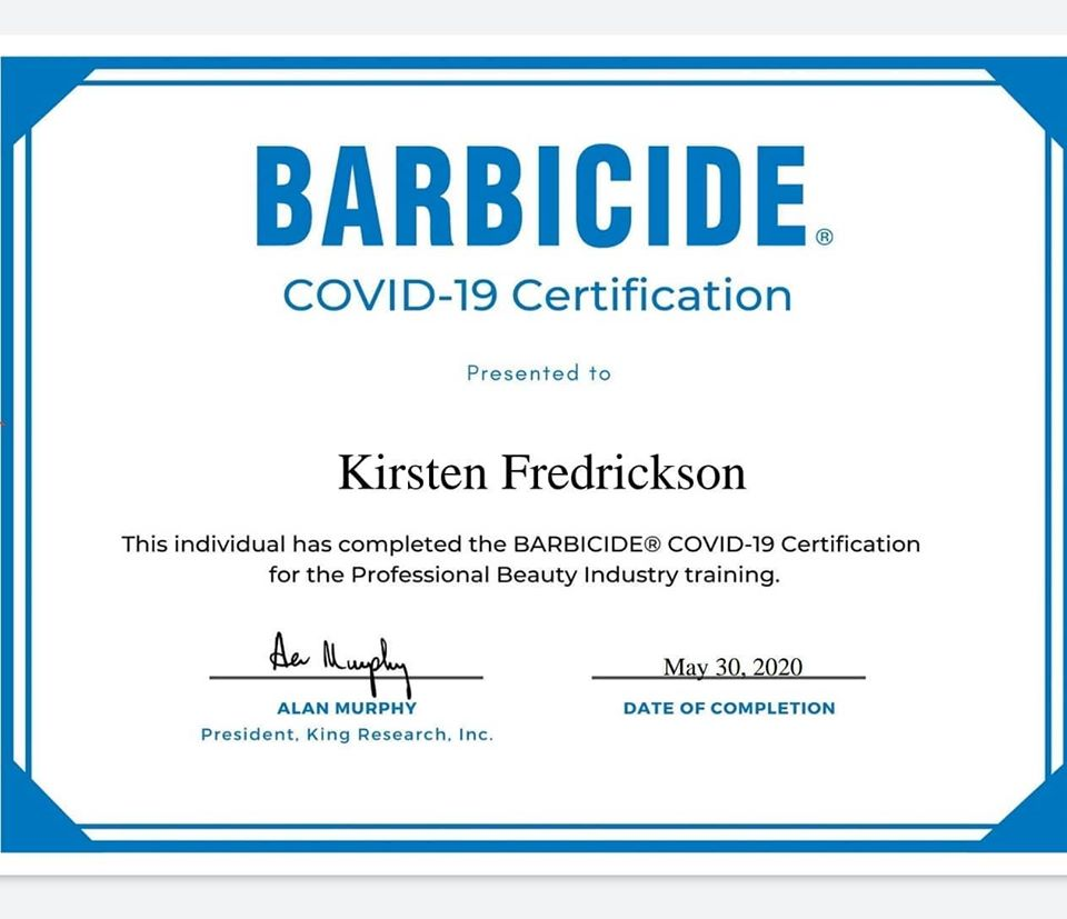 Barbicide COVID-19 Protocols Certification