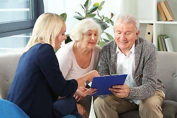 Elderly Couple Signing with Professional