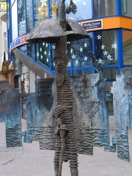 The Umbrella Man figure in Sopot