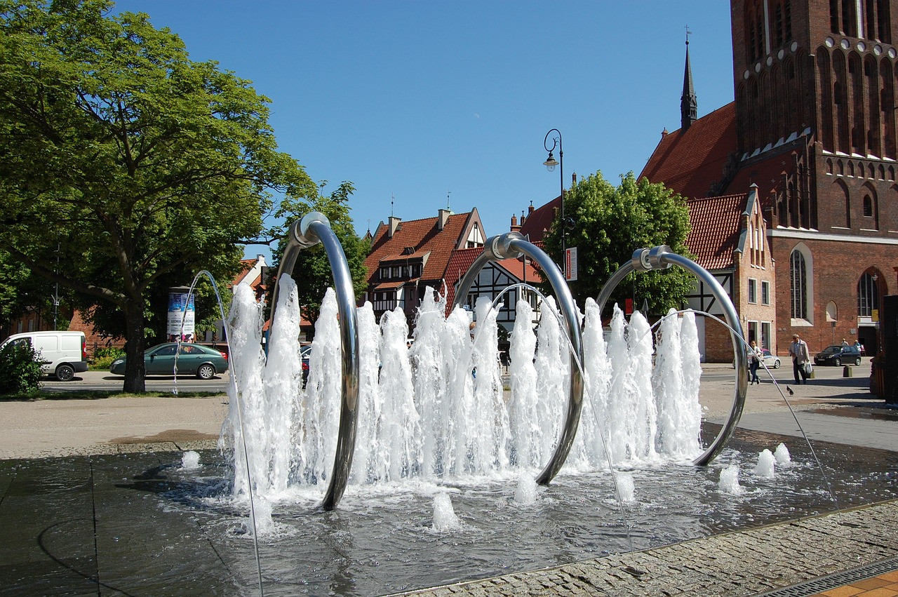 The fountain on the Hevelius Square in Gdańsk