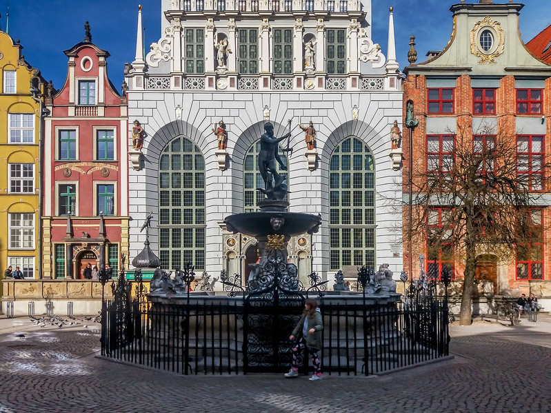 The Arturs Court and the Neptune's Fountain at the Long Market in Gdańsk